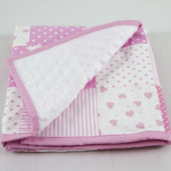 Flutterby Butterfly Soft Pink Patchwork Blanket Runny