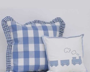 Big-Check-and-Frill-Large-Cushion-and-My Little Train-small-Cushions-together-BC00005.BC00006