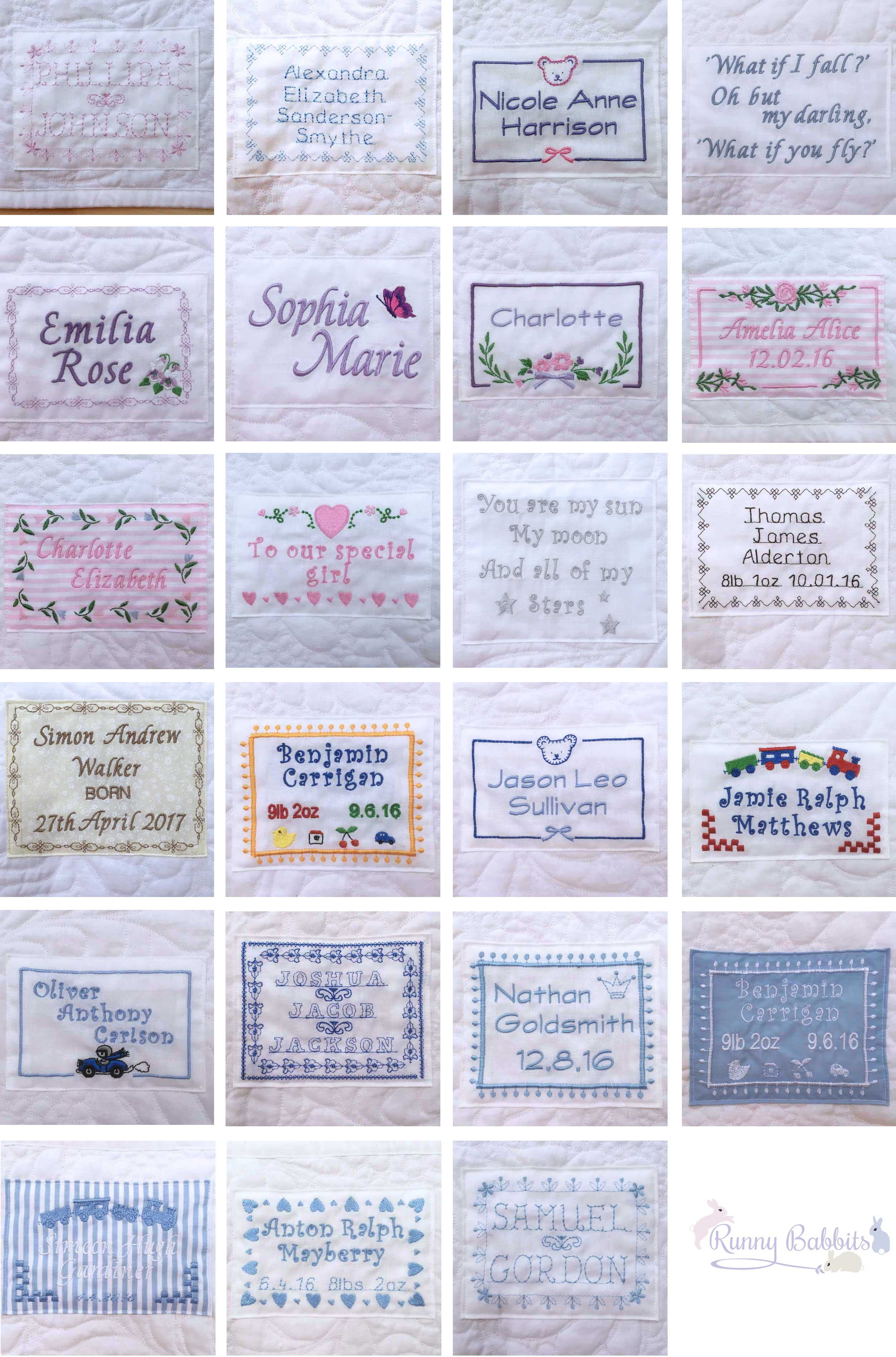 Runny Babbits personalised label options