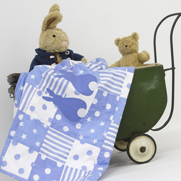 Big-Bo-and-Baby-Darcy-in-Pram-with-Runny-Babbits-blanket