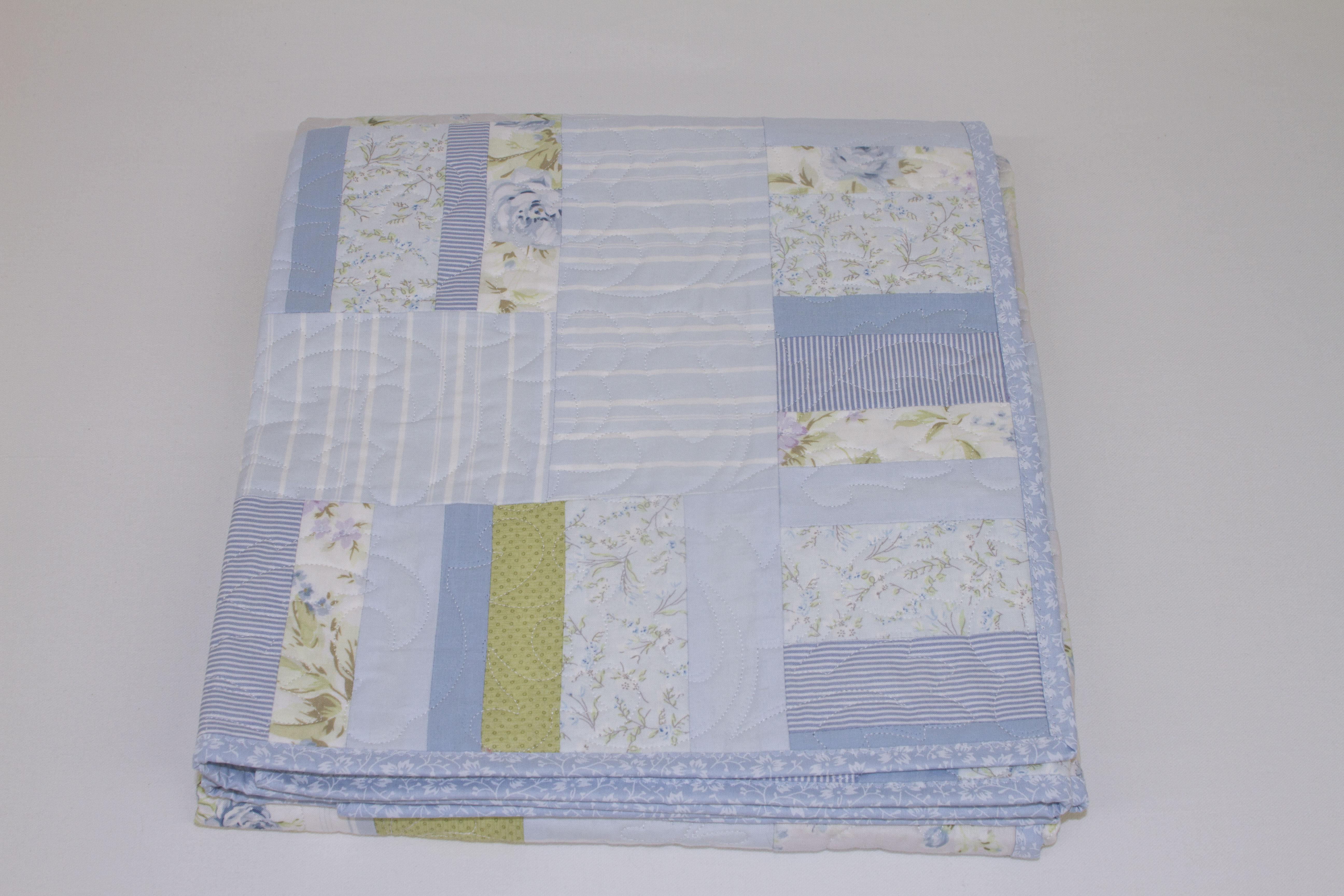 Misty Blue Patchwork Quilt Nursery Set Runny Babbits