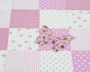 Flutterby-Butterfly-Soft-Pink-Patchwork-blanket-detail