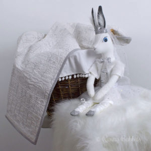 Happy Days Quilt in white with Crystal Arctic Rabbit