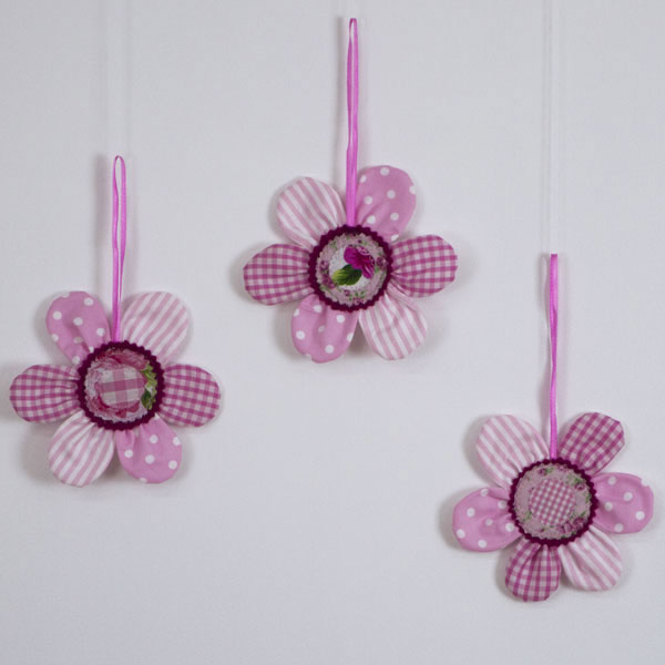 Set of 3 decorative hanging 'Wall Flowers'
