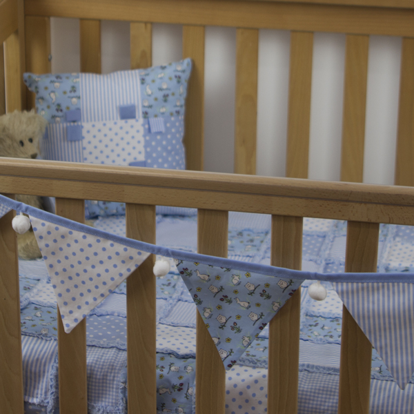Rabbits-and-owls-bunting-blue-with-matching-blanket