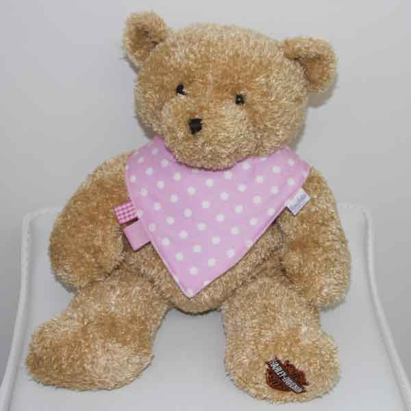 Pink-Polka-Dot-trim-bandana-bib-with-ribbons-BB005