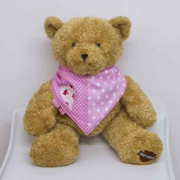 Pink-polka-dot-full-bandana-bib-with-heart-motif-BB003