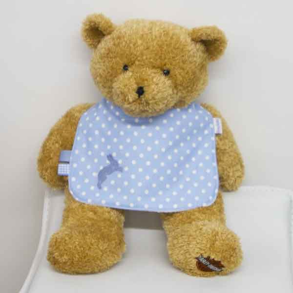 Sky-blue-polka-dot-traditional-bib-with-rabbit-motif-BB014