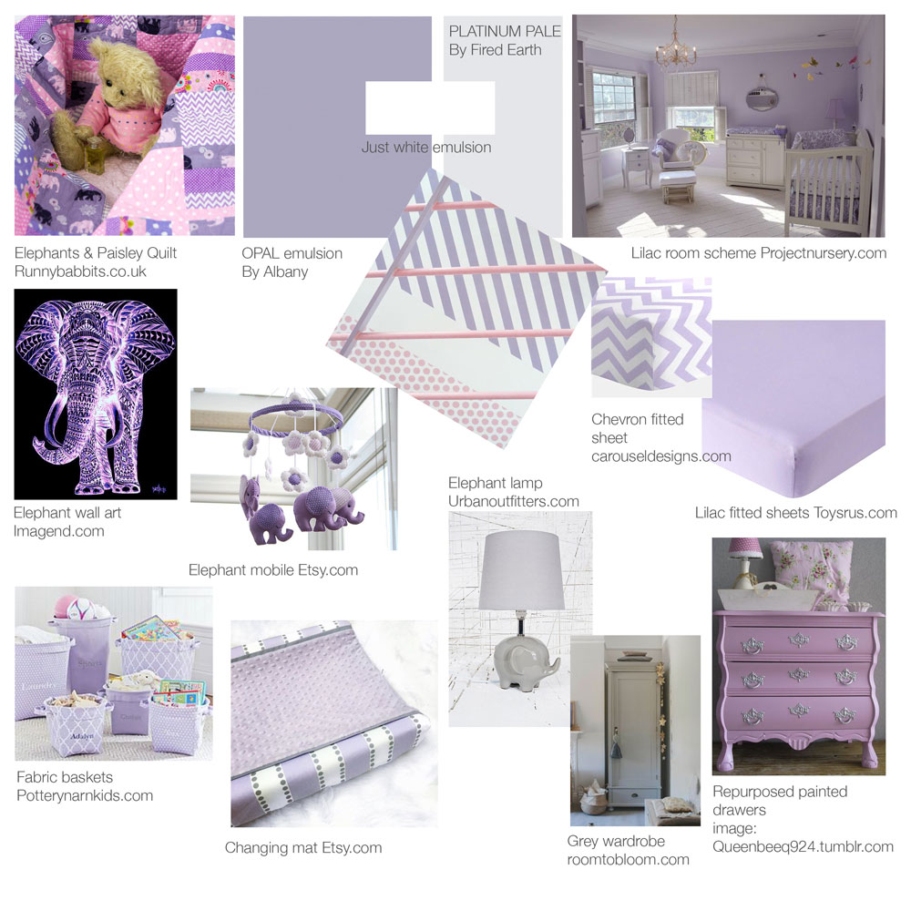 A pretty nursery colour scheme in lilac, pink and grey