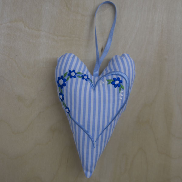 Floral heart embroidered hanging heart