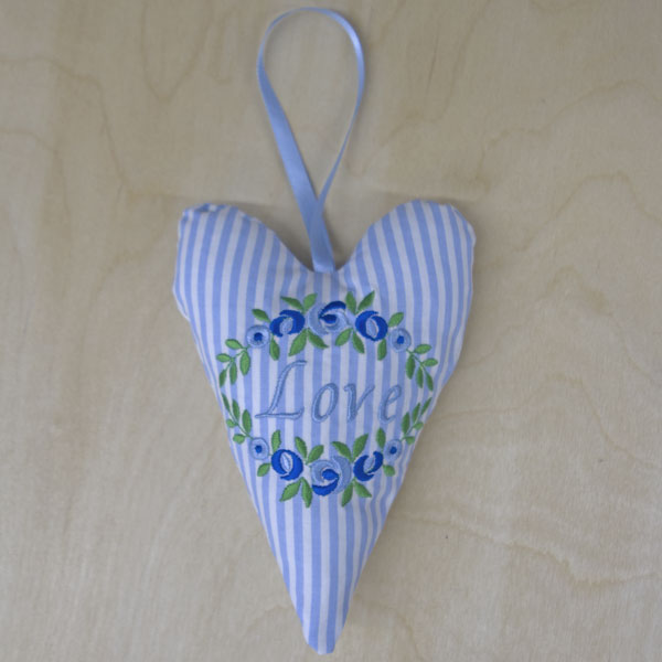 Love with flowers blue stripe heart front