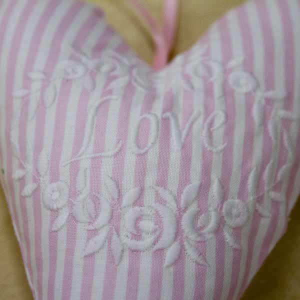 Love Heart in pink and white close-up