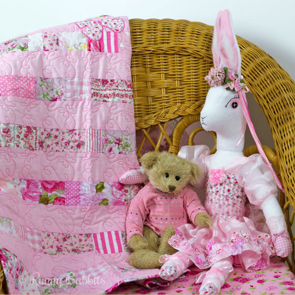 Butterfly Stripe Quilt with Pea Blossom Angora Heirloom Rabbit