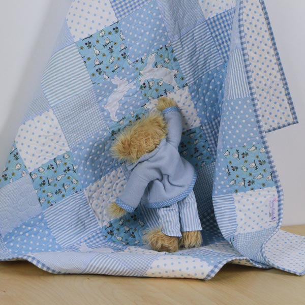 Rabbits Two by Two Patchwork Quilt