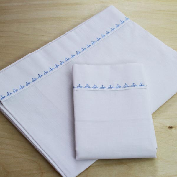 Little Boats border cot sheet set