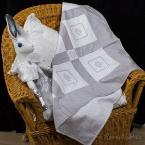 Emblem White and Silver-grey patchwork blanket